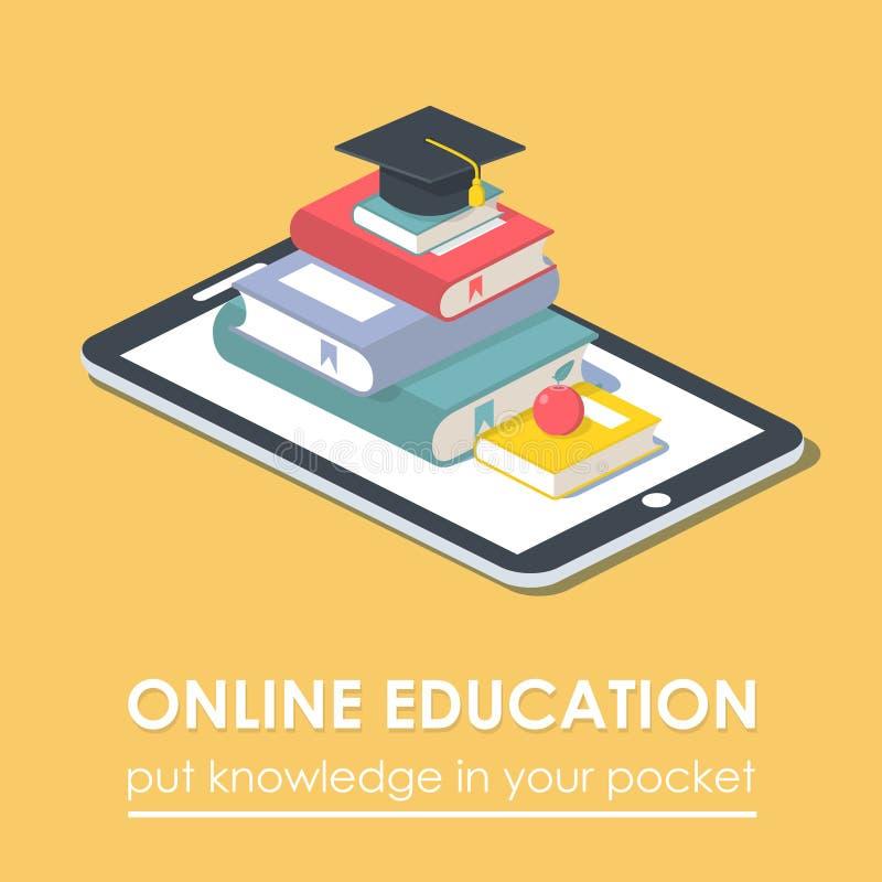 Conceito móvel da educação da tecnologia do livro do e-leitor da tabuleta ilustração do vetor