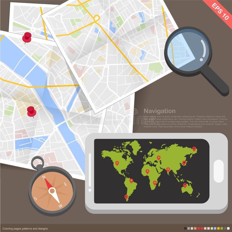 Conceito móvel da navegação da aplicação de Infographics ilustração do vetor
