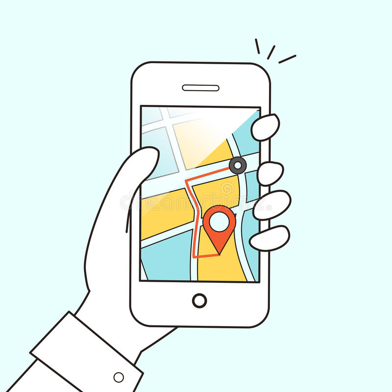 Conceito móvel da navegação de GPS ilustração do vetor