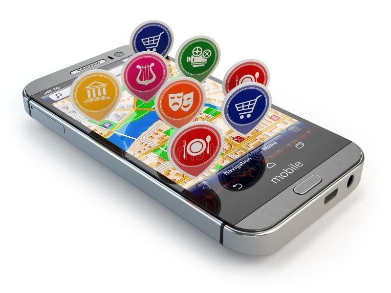 Conceito móvel da navegação de GPS Smartphone e aplicação com r ilustração royalty free