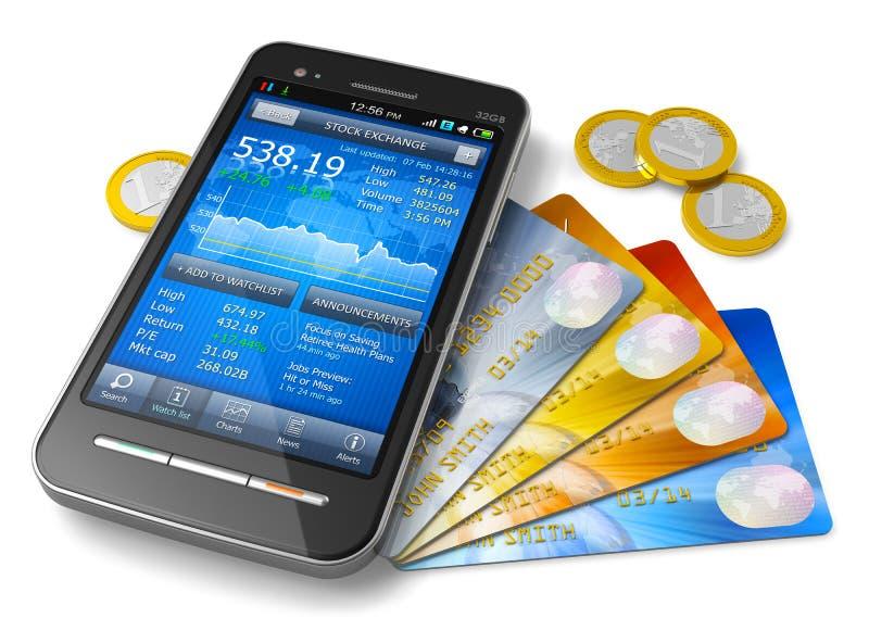 Conceito móvel da operação bancária e da finança ilustração royalty free