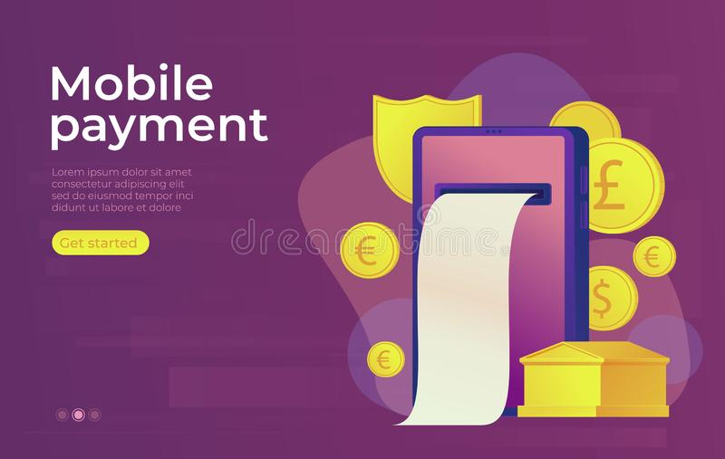 Conceito móvel da operação bancária em linha do pagamento Construção de banco do ouro Bandeira do Web ilustração stock