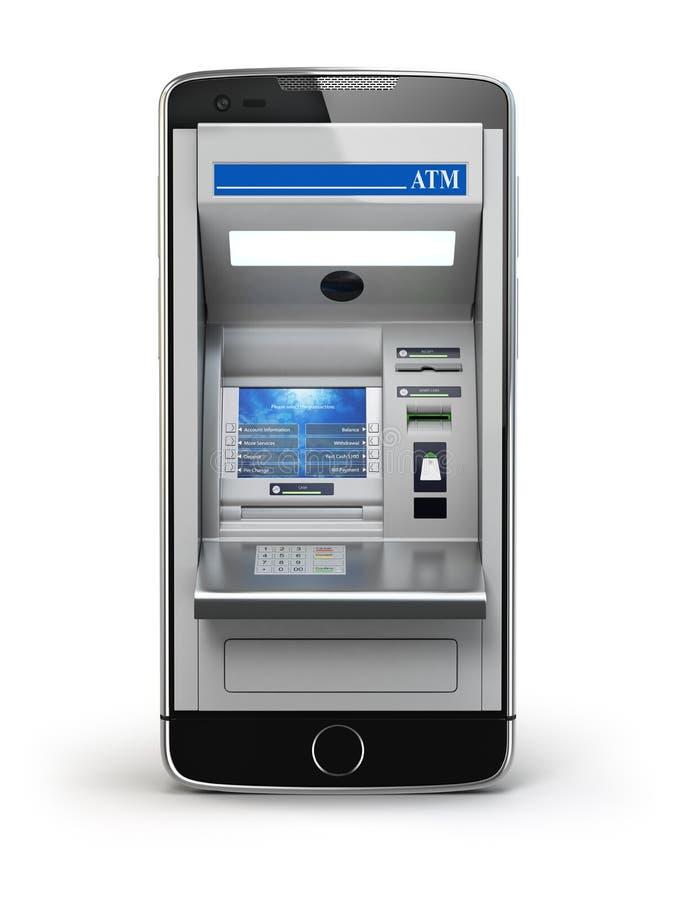 Conceito móvel da operação bancária em linha e do pagamento Telefone esperto como o ATM ilustração stock
