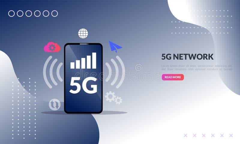 conceito móvel da rede 5G, Internet sem fio da telecomunicação de faixa larga, dados de conexão de alta velocidade da inovação da ilustração stock