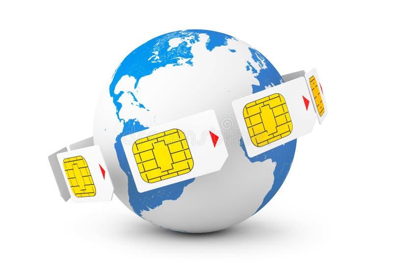 Conceito móvel da telecomunicação Opinião macro Sim Cards ao redor ilustração royalty free