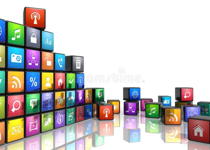 Conceito móvel das aplicações ilustração royalty free