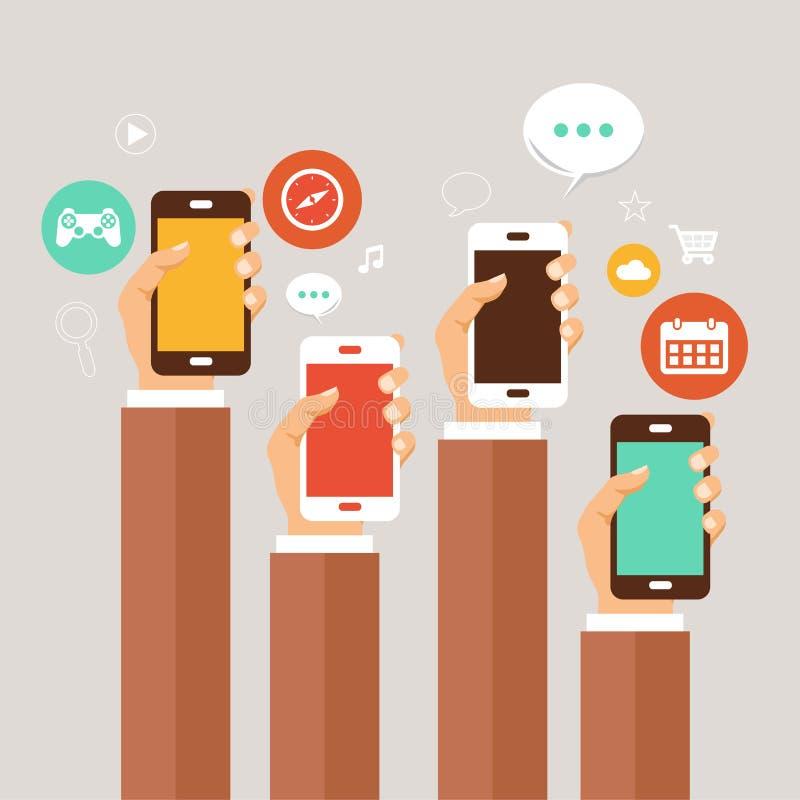 Conceito móvel das aplicações Mãos com telefones Ilustração lisa ilustração royalty free