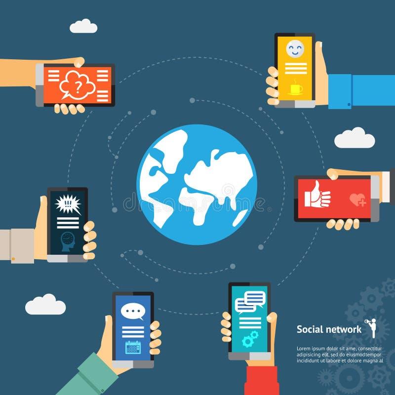 Conceito móvel de Instant Messenger do globo ilustração stock
