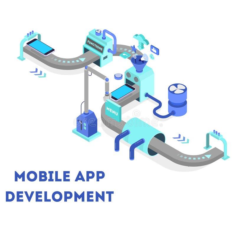 Conceito móvel do desenvolvimento do app Tecnologia moderna e smartphone ilustração do vetor