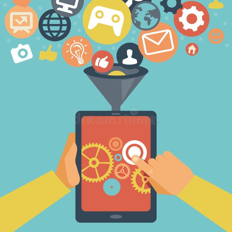 Conceito móvel do desenvolvimento do app do vetor ilustração do vetor