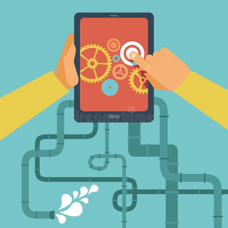 Conceito móvel do desenvolvimento do app do vetor ilustração royalty free