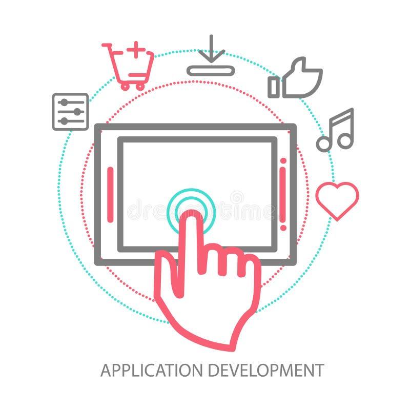 Conceito móvel do desenvolvimento do app do vetor, linha ilustração royalty free