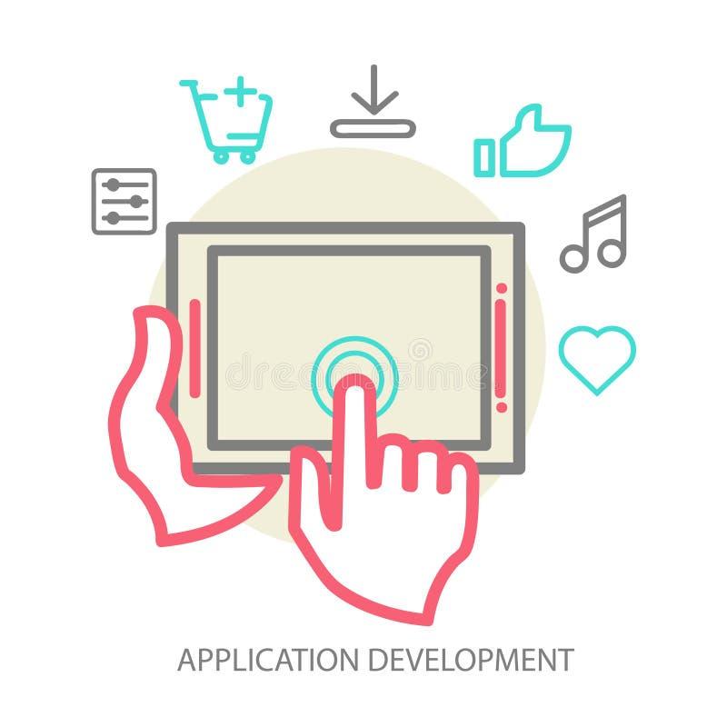 Conceito móvel do desenvolvimento do app do vetor, linha ilustração stock