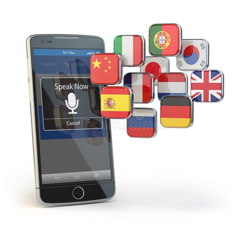Conceito móvel do dicionário ou do tradutor Aprendendo línguas ilustração do vetor