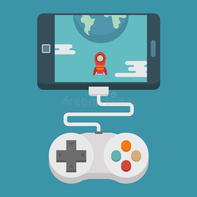 Conceito móvel do jogo, projeto liso ilustração stock