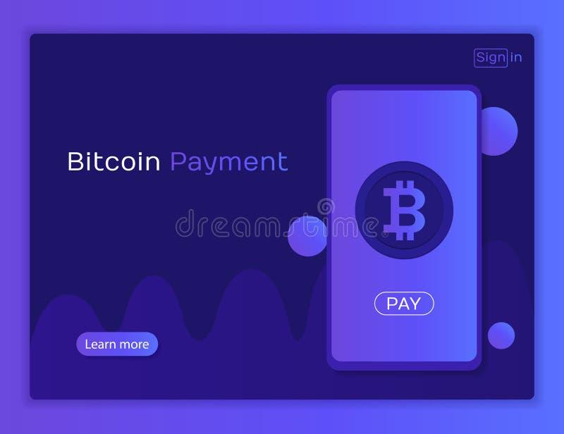 Conceito móvel do pagamento do bitcoin Cryptocurrency móvel ilustração stock