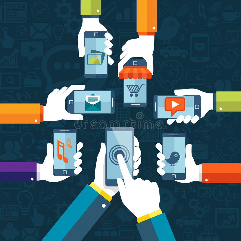 Conceito móvel dos apps do vetor liso do projeto com ícones da Web