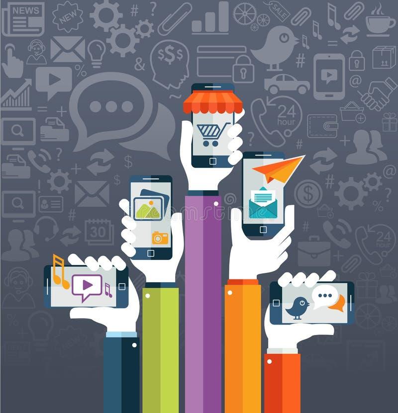 Conceito móvel dos apps do vetor liso do projeto com ícones da Web ilustração do vetor