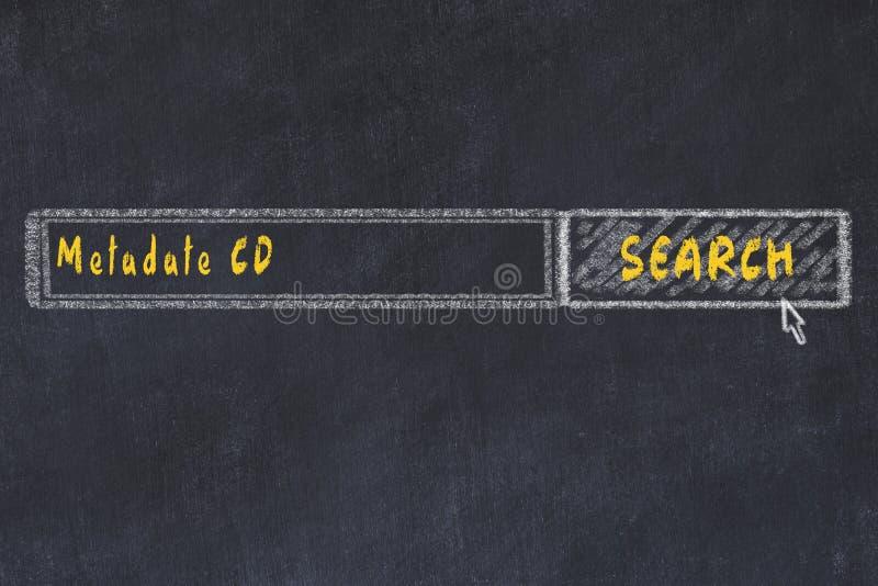 Conceito M?DICO Desenho de giz de uma janela do Search Engine que procura o CD do metadate da droga fotos de stock
