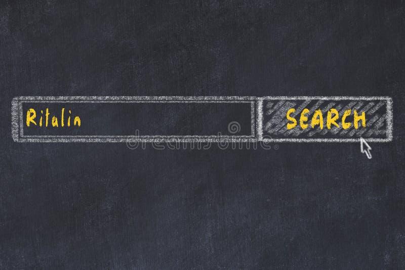 Conceito M?DICO Desenho de giz de uma janela do Search Engine que procura o ritalin da droga imagens de stock