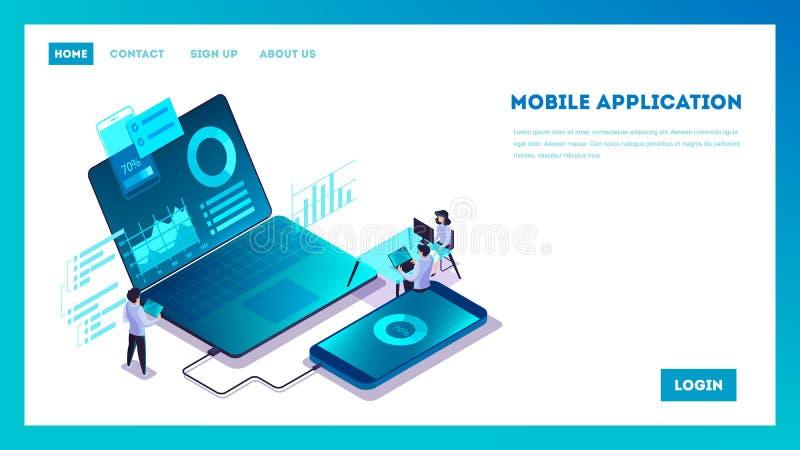 Conceito m?vel do desenvolvimento do app Illsutration moderno da tecnologia ilustração royalty free