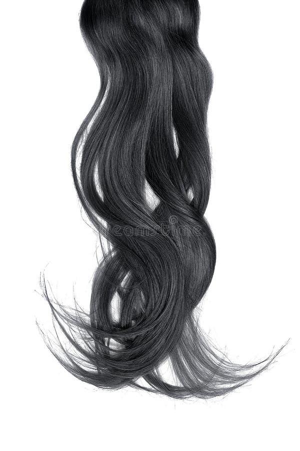 Conceito mau do dia do cabelo Rabo de cavalo longo, preto, bagunçado fotografia de stock