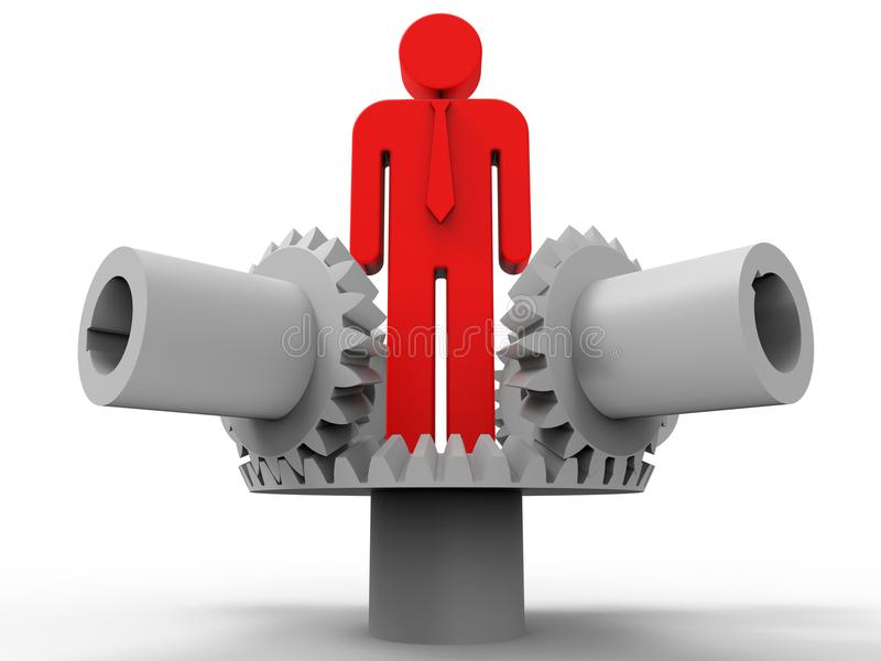 Conceito mecânico do serviço 3D do homem de negócios ilustração royalty free