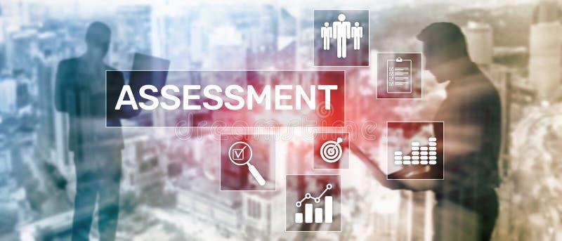 Conceito medida do negócio e da tecnologia da análise da analítica da avaliação da avaliação no fundo borrado ilustração stock