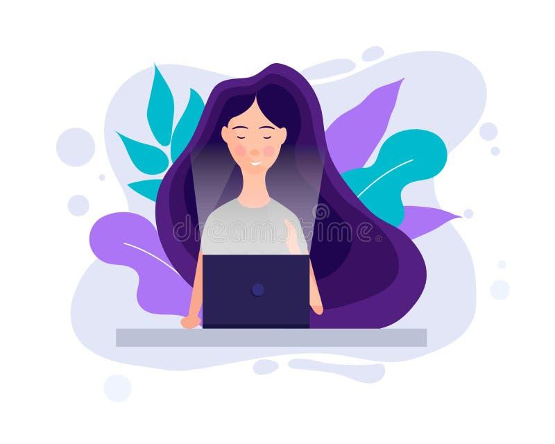 Conceito milenar Menina que trabalha com o portátil em redes sociais O adolescente novo está olhando seu portátil millennial ilustração stock