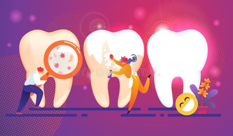Conceito minúsculo dos caráteres dos povos dos cuidados dentários dentes ilustração do vetor