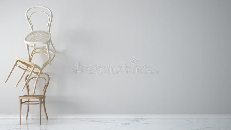 Conceito minimalista do desenhista do arquiteto com as três cadeiras de madeira clássicas que penduram no equilíbrio no fundo e n ilustração do vetor