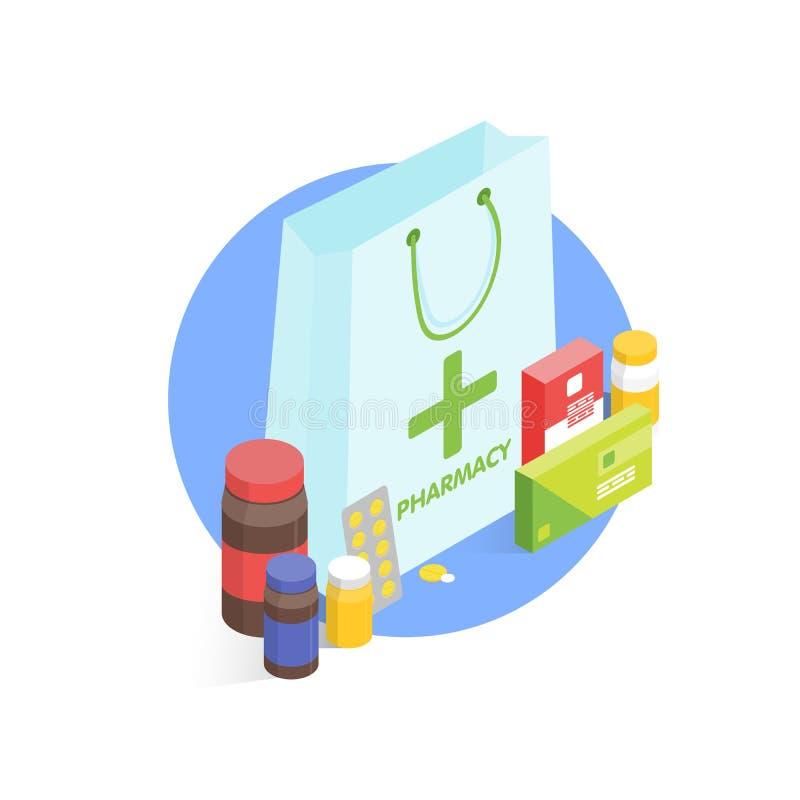 Conceito moderno da farmácia e da drograria Ilustração simples do vetor isométrico ilustração stock