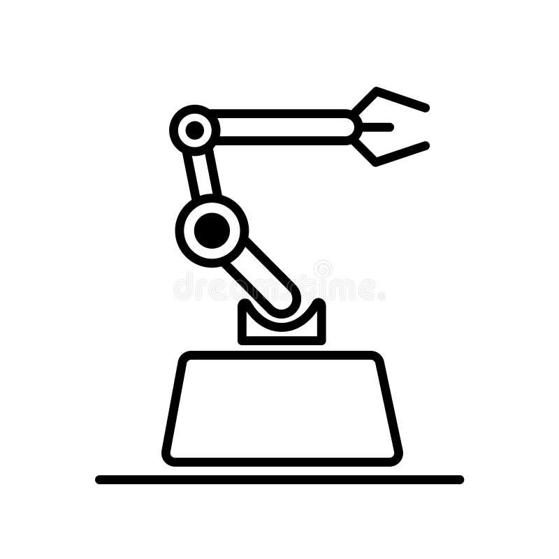 Conceito moderno da ilustração do vetor do logotipo do estilo Ícone mecânico industrial do vetor do braço do robô ilustração stock