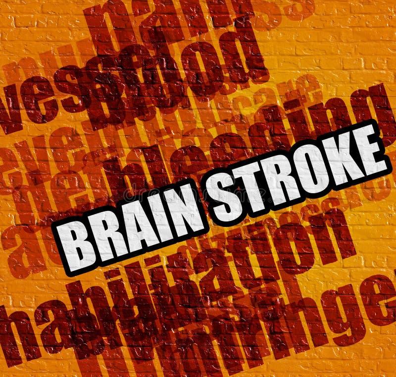 Conceito moderno da medicina: Brain Stroke no Brickwall amarelo ilustração royalty free