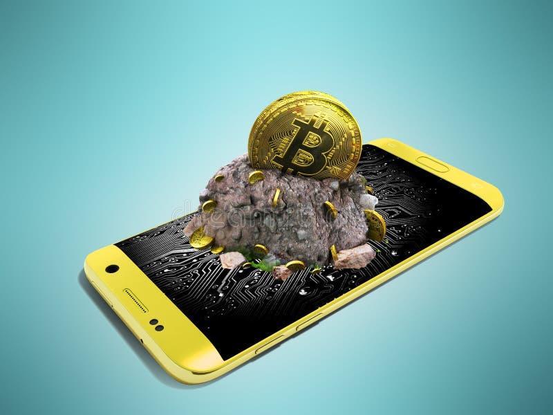 Conceito moderno da mineração do bitcoin com uma perspectiva amarela 3d com referência a imagens de stock