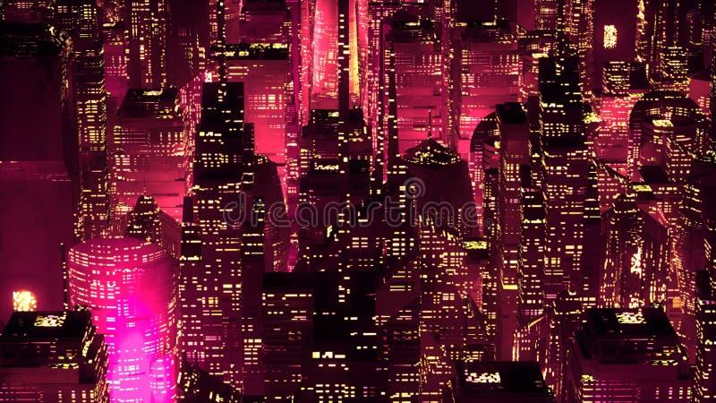 Conceito moderno da tecnologia dos arranha-céus de néon vermelhos da cidade ilustração do vetor