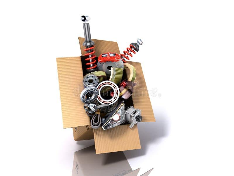 Conceito moderno das fontes automotivos da manutenção do veículo delive ilustração royalty free