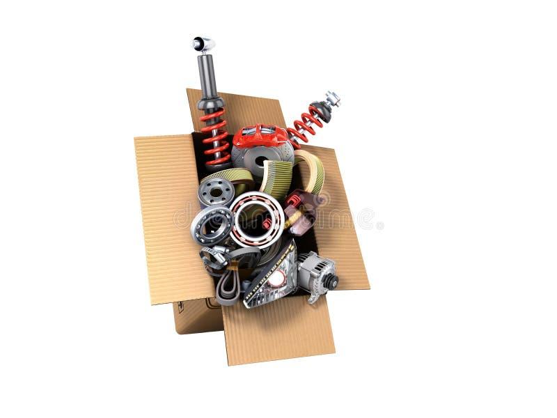 Conceito moderno das fontes automotivos da manutenção do veículo delive ilustração do vetor