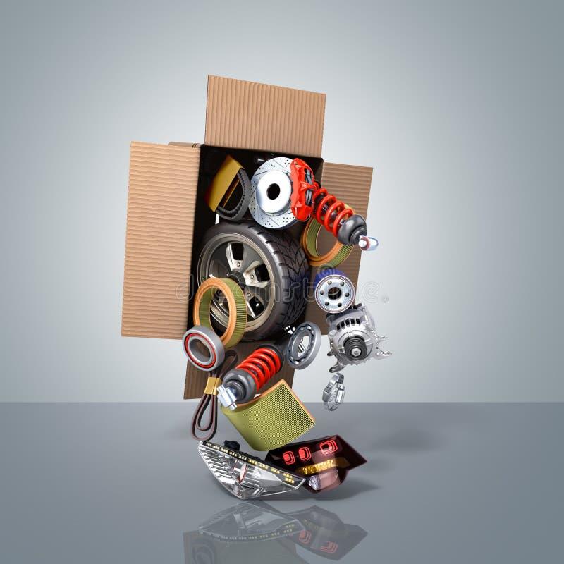Conceito moderno das fontes automotivos da manutenção do veículo delive ilustração stock