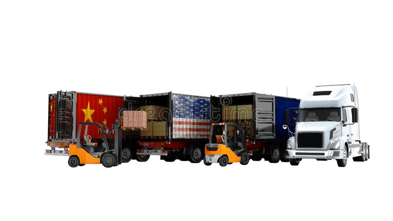 Conceito moderno de bens de carregamento no reboque para transportar os caminhões basculantes 3d para não render no fundo branco  ilustração stock