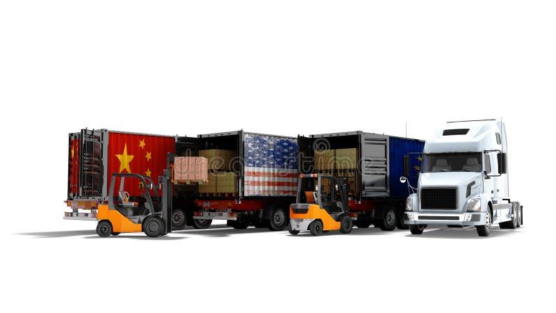 Conceito moderno de bens de carregamento no reboque para transportar os caminhões basculantes 3d para render no fundo branco com  ilustração stock