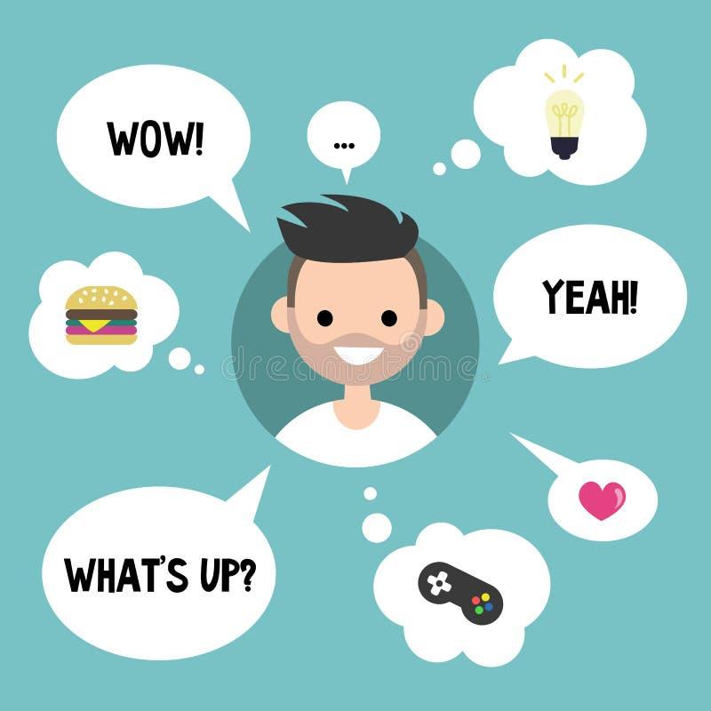 Conceito moderno de uma comunicação Homem farpado feliz cercado pelo sp ilustração do vetor