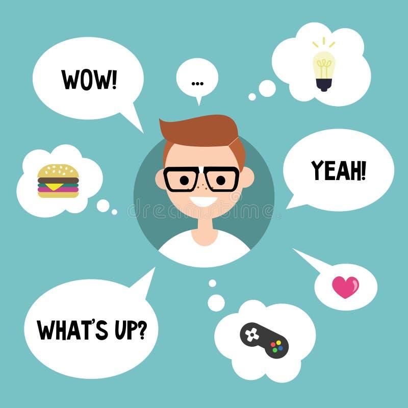 Conceito moderno de uma comunicação Lerdo feliz cercado falando ilustração stock