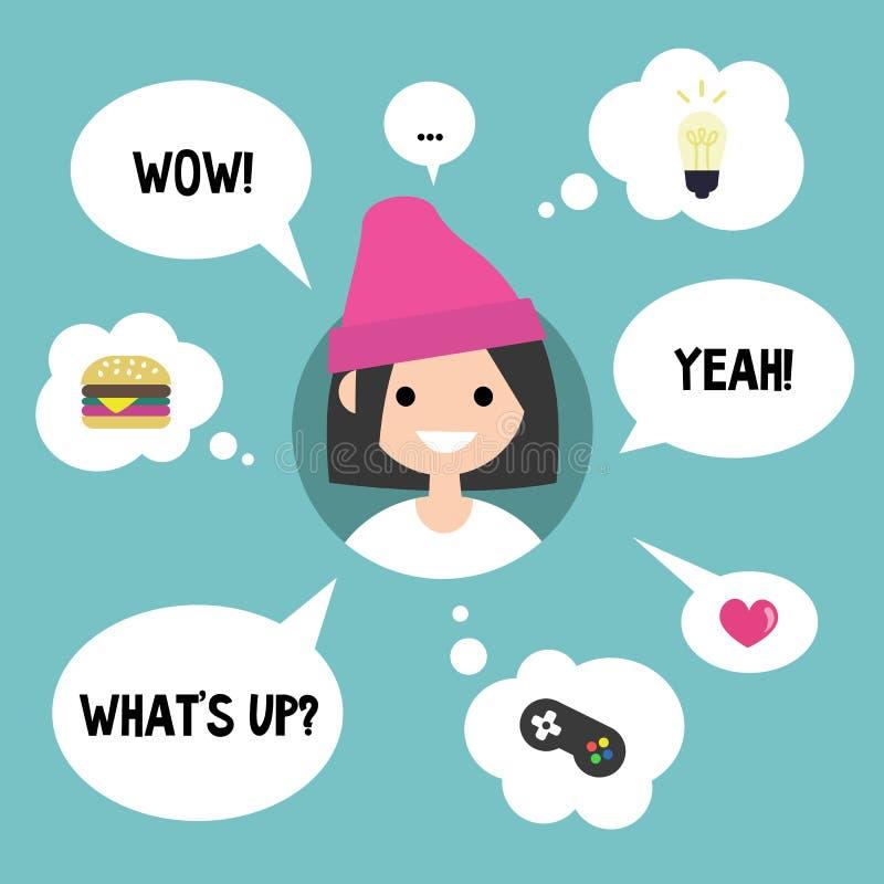 Conceito moderno de uma comunicação Menina feliz cercada falando ilustração royalty free