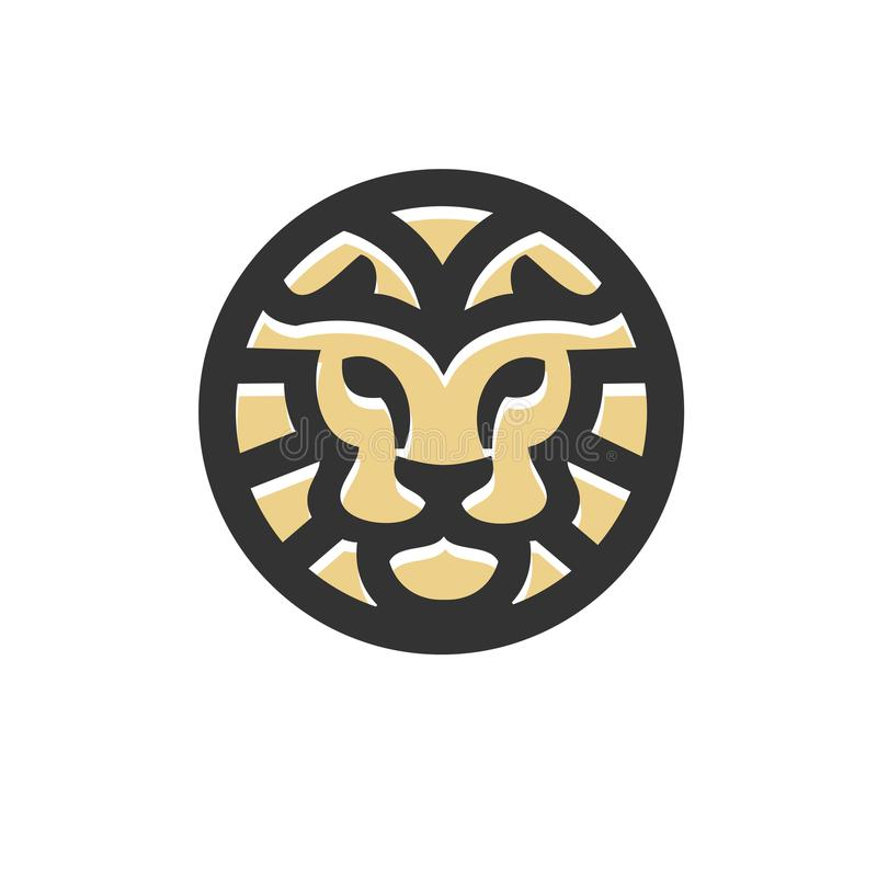 Conceito moderno do logotipo da melhor cabeça criativa do leão do círculo ilustração royalty free