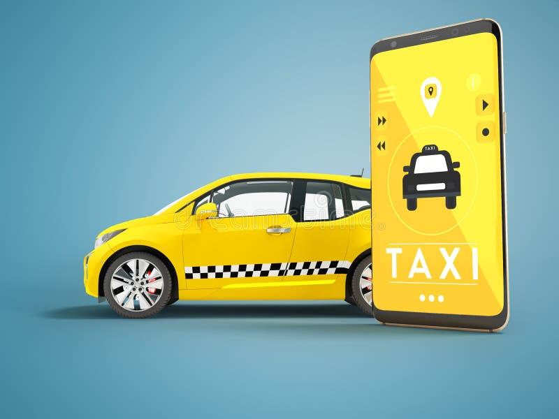 Conceito moderno do táxi que chama um carro bonde com um smartphone fotos de stock royalty free