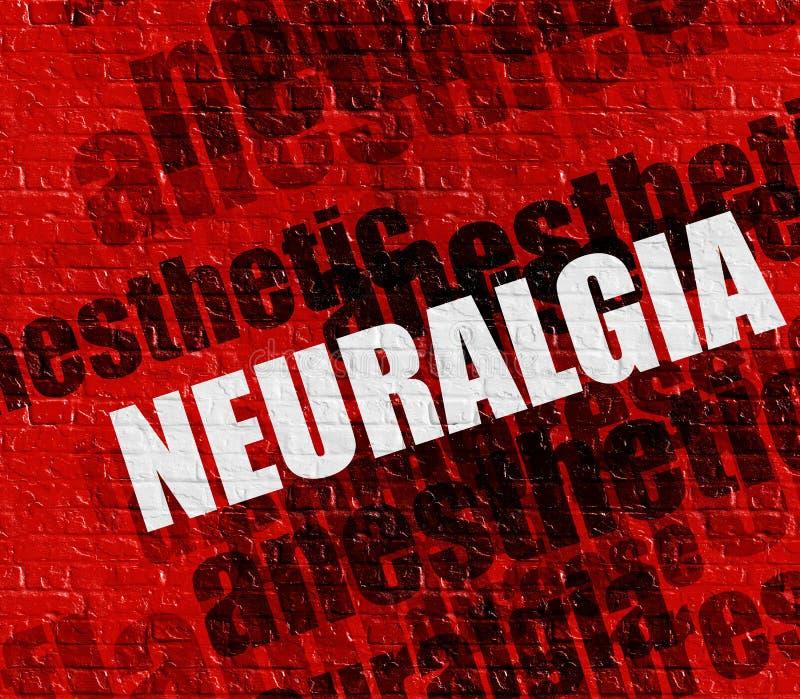 Conceito moderno dos cuidados médicos: Nevralgia no Brickwall vermelho ilustração stock