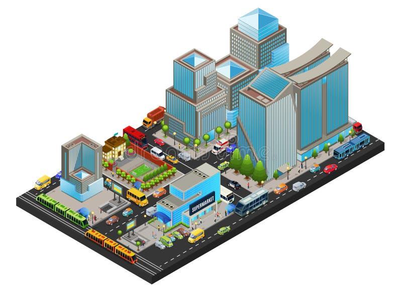 Conceito moderno isométrico da arquitetura da cidade ilustração do vetor