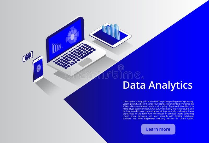 Conceito moderno isométrico da informática e dos trabalhos em rede  Negócio da tecnologia da nuvem da Web Serviços de dados do In ilustração stock