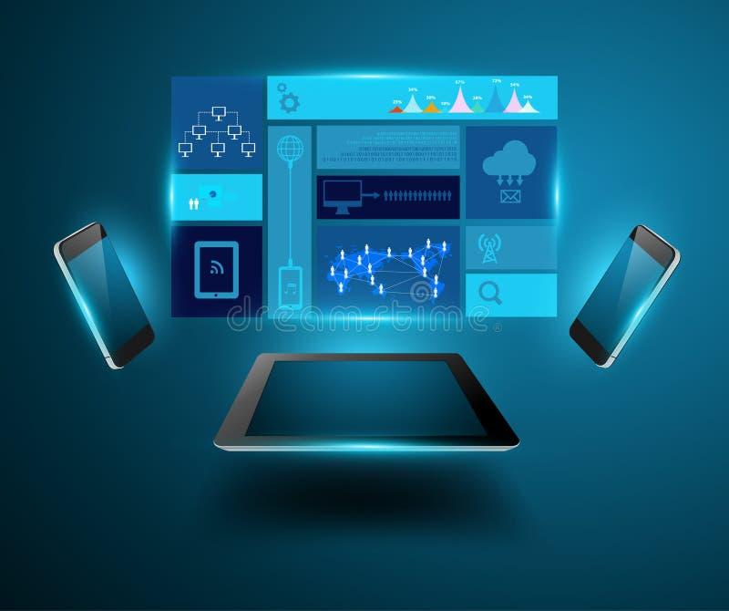 Conceito moderno p móvel do negócio da tecnologia do vetor ilustração stock